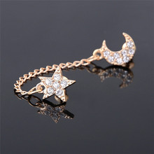 Vintage Two Piercing One Side Golden Chain Crystal Rhinestone Moon Star Ear Cuff For Double Hole Earring Jewelry one piece alloy rhinestone ear cuff