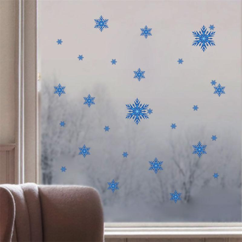 xmas romantic blue DIY snowflake Christmas window wall decoration sticker home decor party decoration winter style stickers