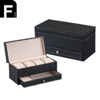 Women Men Watch Box With 4 Watch Slots Double Layer Jewelry Box Girls Travel Makeup Case