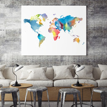 Colorful Watercolor World Map Wall Art Canvas Painting Nordic Posters And Prints Pop Pictures For Living Room Salon