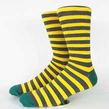 Men's Skate Yello Green Strip Socks USA Size 9-13 ,Euro Size 42-46 (Not Thick)