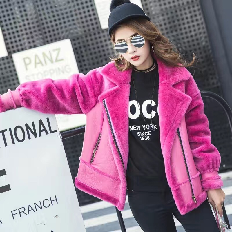 Runway style womens winter fur coat fashion high quality real sheep shearing fur leather one piece coats wool motorcyle jacket