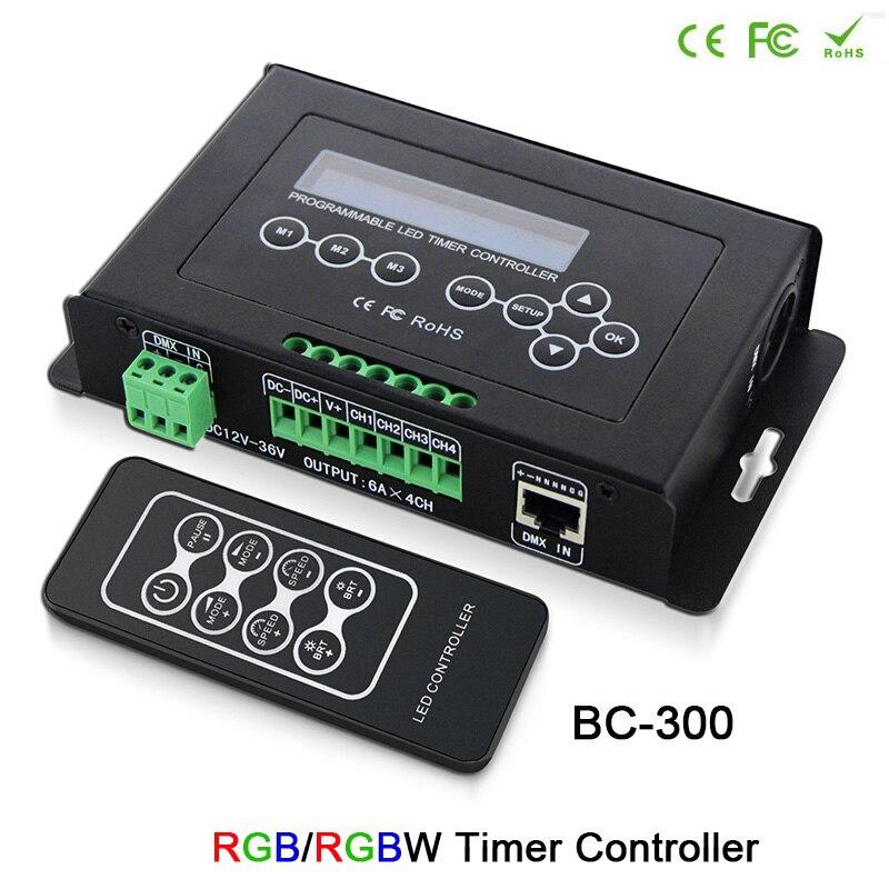 Contrôleur programmable DC12V-36V de signal d'entrée de DMX 512 sortie contrôleur de minuterie de 6A x 4CH rvb/RGBW pour la bande de bande menée