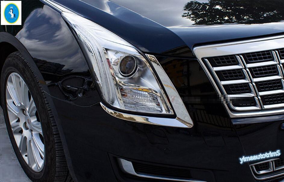 Frente Farol Head Light Lamp Pálpebra Capa Guarnição Exterior 2 pçs/set Para Cadillac XTS 2013 2014 2015 Aço Inoxidável/Aço Inoxidável