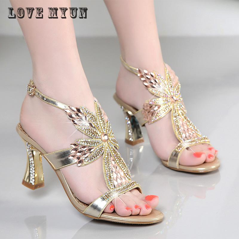 2017 new summer sandals female high-heeled shoes with leather diamond diamond thick heels sexy high-heeled shoes  2017 summer new sandals exposed toe high heels female sexy thick with buckle shoes wholesale