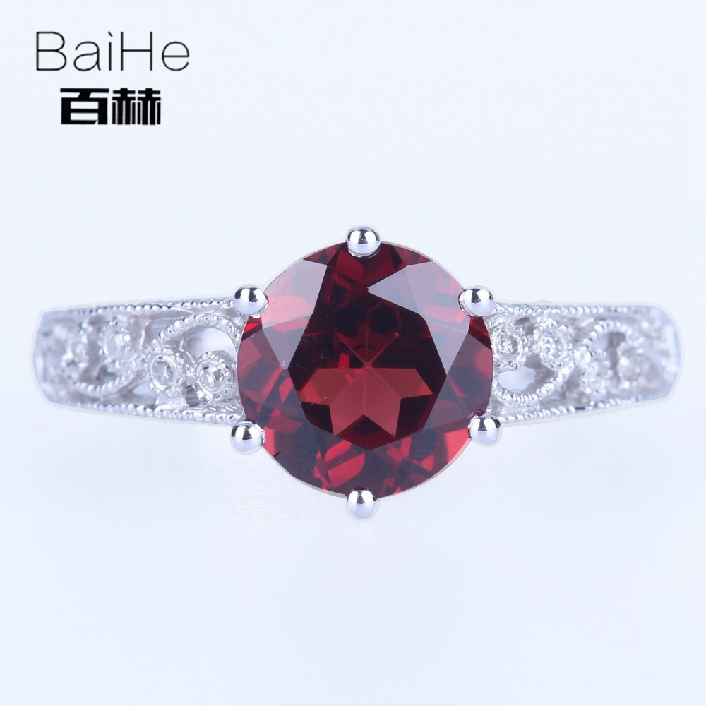 BAIHE Sterling Silver 925 2.117ct Certified Red Flawless Round CUT 100% Genuine Garnet Engagement Trendy Fine Jewelry Gift Ring цена