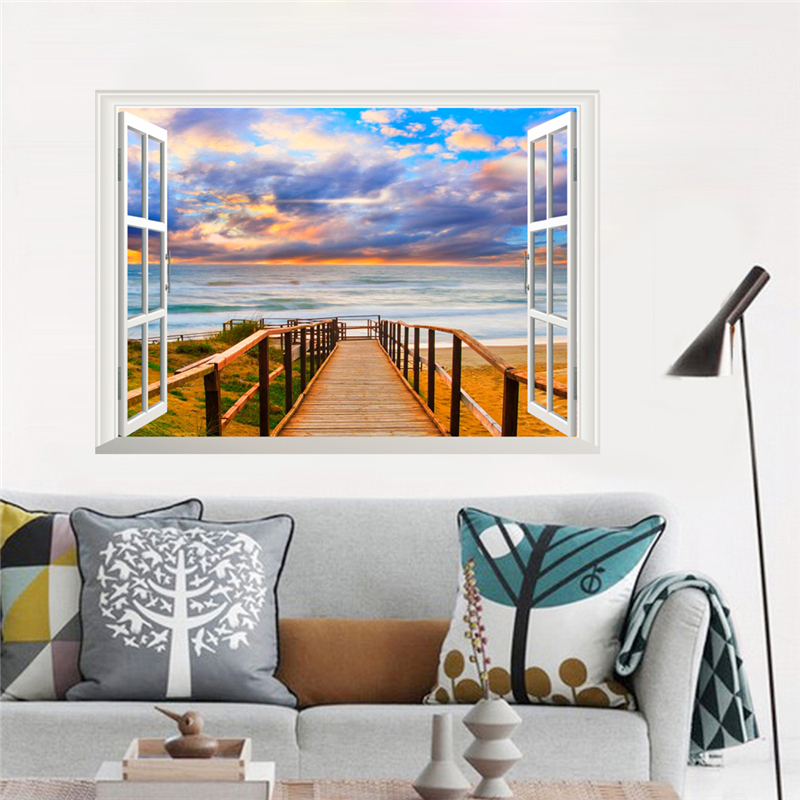 Beachy Living Room Big On Wall Decor: 3d View Sea Beach 50*70cm Window Wall Stickers Home Decor
