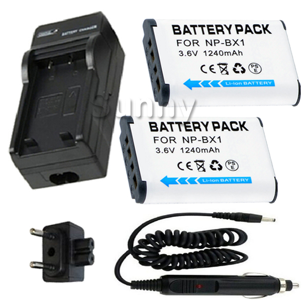 Batterie 2-Pack + Chargeur pour Sony HDR MV1, AS10, AS15, AS20, AS30, AS30V, AS100, AS100V, AS100VR, AS200V, AS200VR POV Action Cam