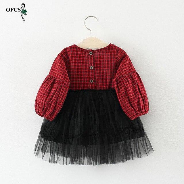 Nueva primavera chica vestidos estilo Casual Patchwork Bebé Ropa de manga  larga de color rojo cuadrícula cbc869098e2