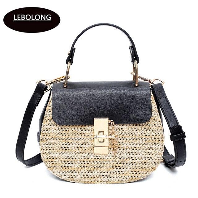 7f35dec98e Lebolong 2018 Women Handmade Beach Shoulder Bag Circle Straw Bags Designer  Summer Woven Rattan Handbags Women