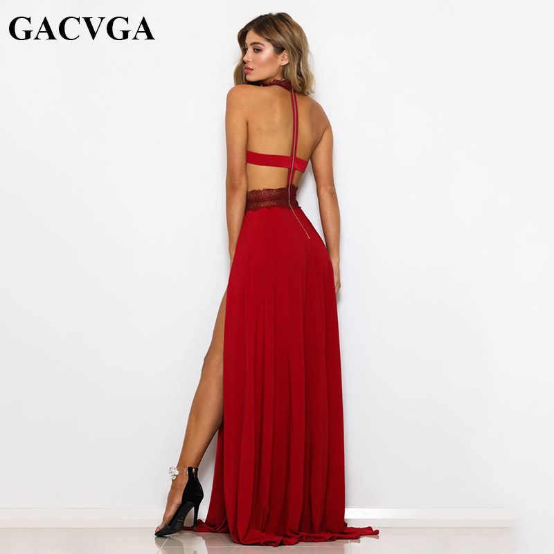 GACVGA סקסי נשים ללא שרוולים קיץ שמלת קולר צוואר תחרה סרוגה ערב מקסי ארוך שמלת המפלגה ללא משענת שמלות Vestido