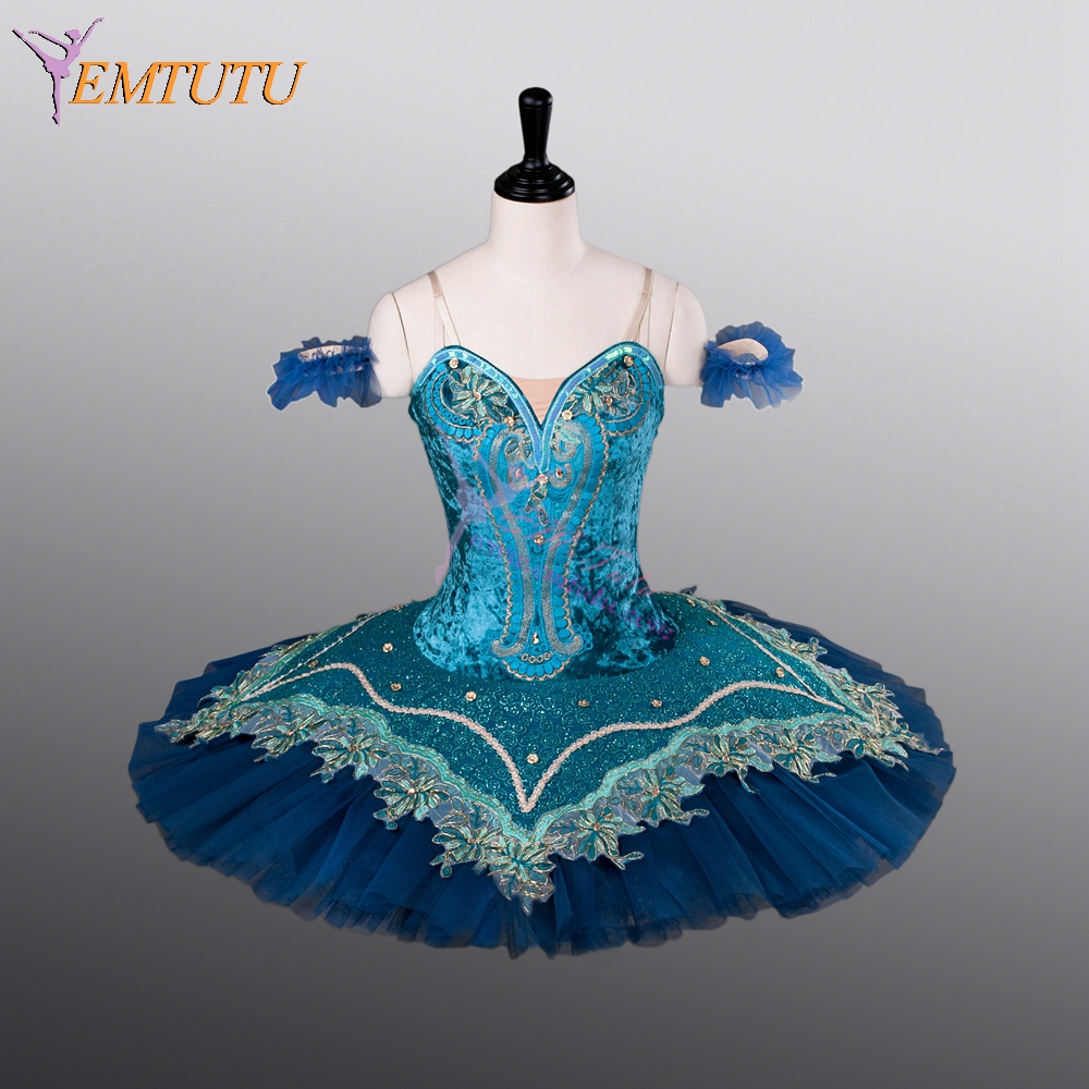 Women Blue professional ballet tutu classical performance concert competition ballerina ballet stage costume pancake tutus blue