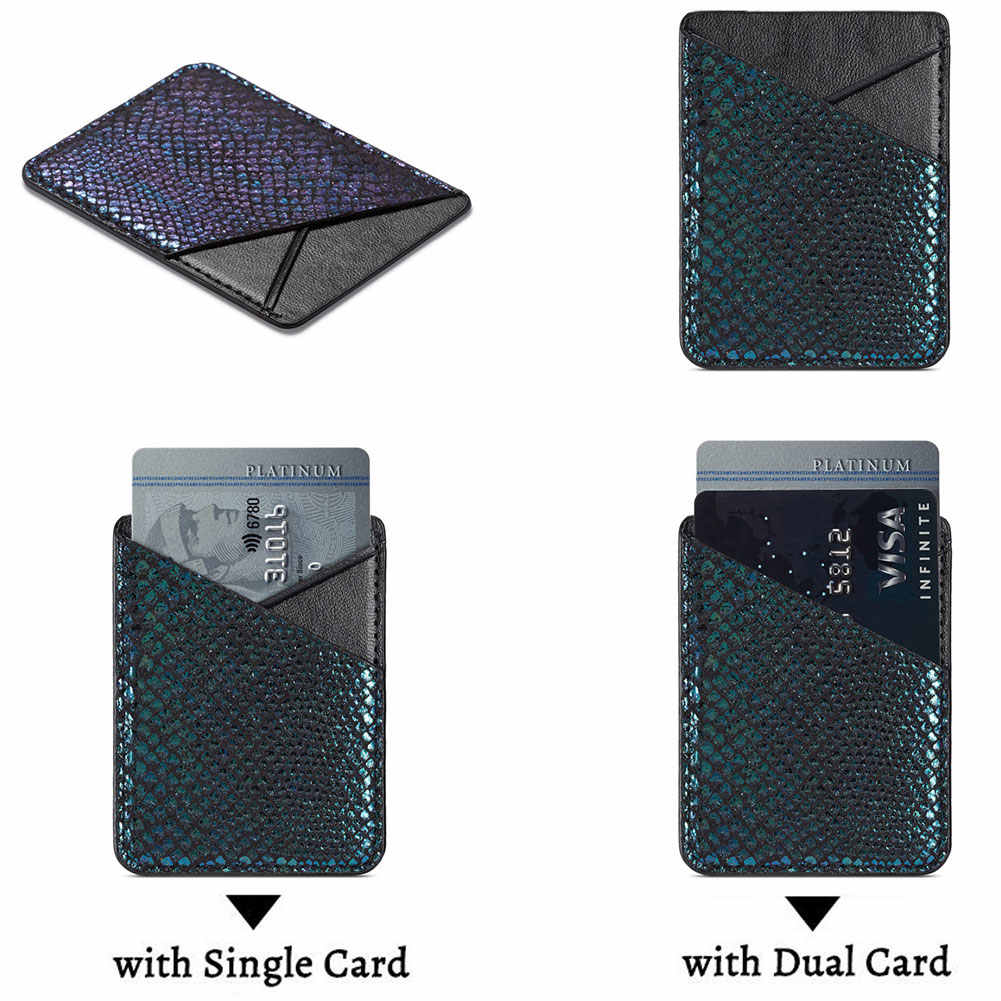 موضة بطاقة الائتمان هاتف محمول كيس التخزين المحفظة عصا على الجيب الخلفي العالمي PU جراب جلد للجوّال حامل بطاقة لاصقة