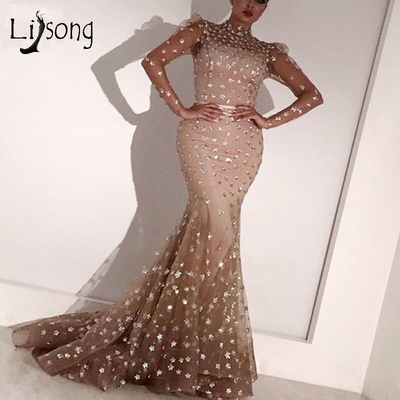 Elegant Champagne 3D Flower Mermaid   Evening     Dress   High Collar Full Sleeves Long Muslim   Evening   Gowns Formal   Dress   Robe De Soiree