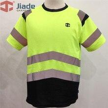 Jiade الكبار عالية الوضوح تي شيرت تي شيرت قصير الرجال العمل عاكسات قميص EN471 قميص ANSI قميص شحن مجاني