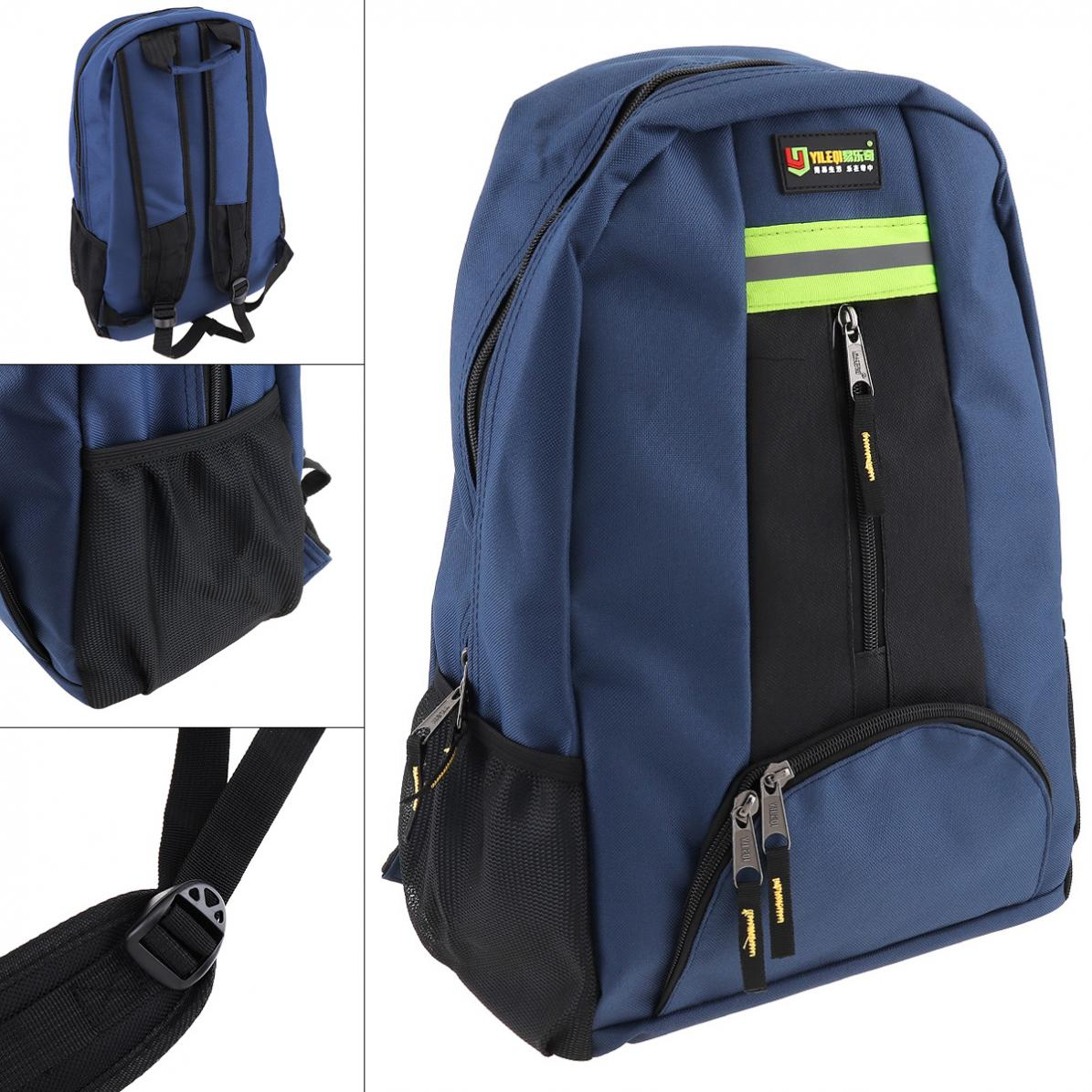 Multifunctional Oxford Cloth Waterproof Double-shoulder Backpack Tool Bag With 12 Pockets And Safety Strip For Maintenance Tools