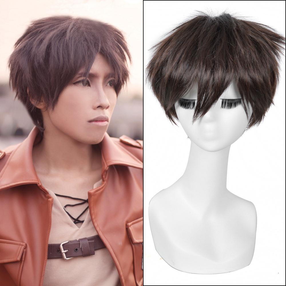 25cm Dark Brown Short Straight Haircut Anime Attack On Titan Eren
