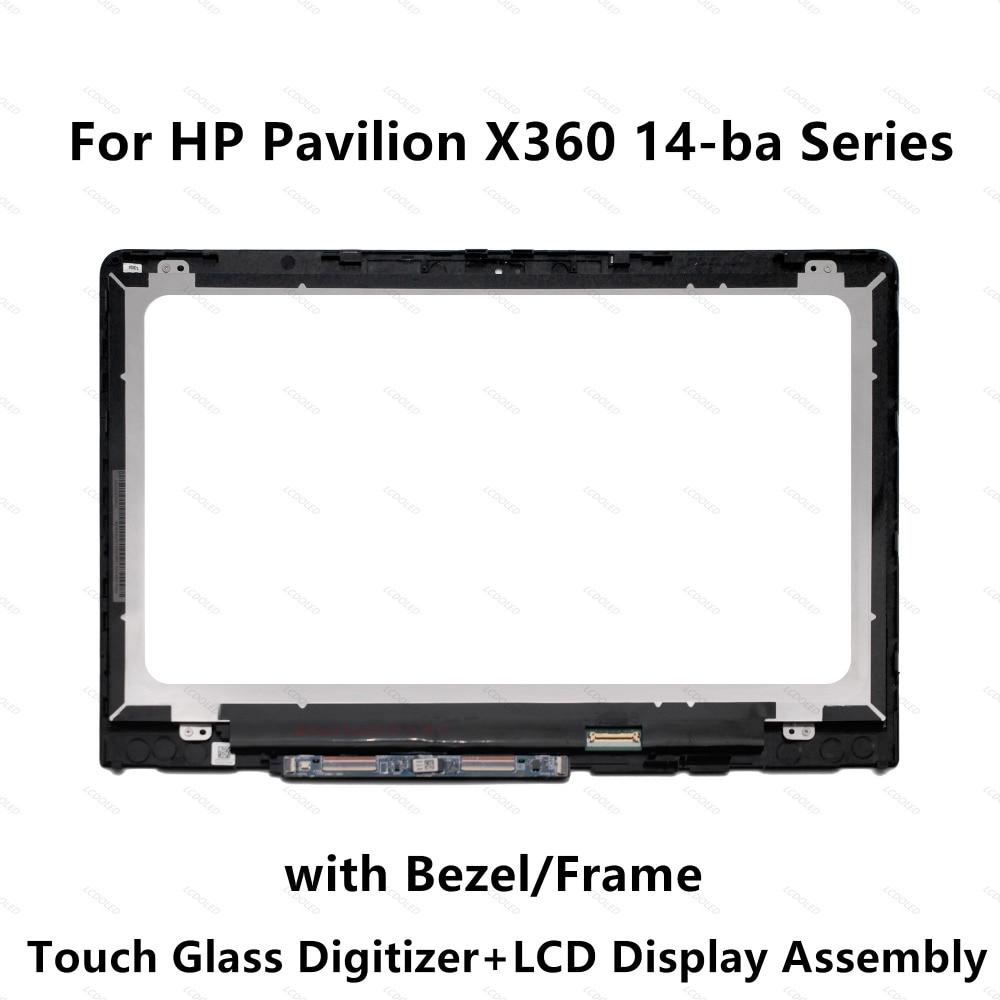 Полный ЖК дисплей Дисплей Сенсорный экран Стекло Ассамблеи рамка для hp x360 14 ba002la 14 ba135ns 14 ba037ns 14 ba138ns 14 ba140ns 14 ba139ns