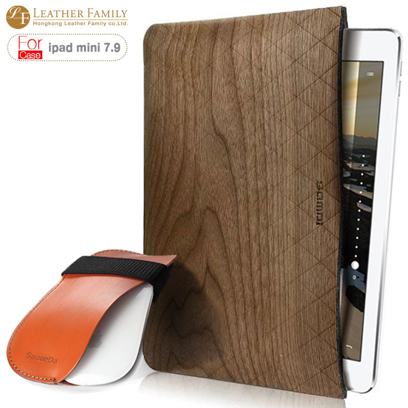 Case For ipad mini 4 7.9 inch Wool Felt with wood sleeve pouch bag for ipad mini 4 case cover with Bluetooth Mouse leather pouch