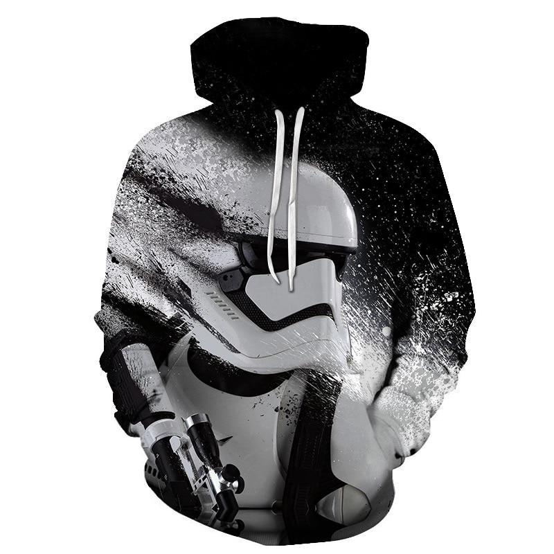 2018 New Tide Hoodie Men Long Sleeve Star Wars Print Sweatshirt Leisure 3D Hoodies Men and Women with Cap Hoody Men Clothing