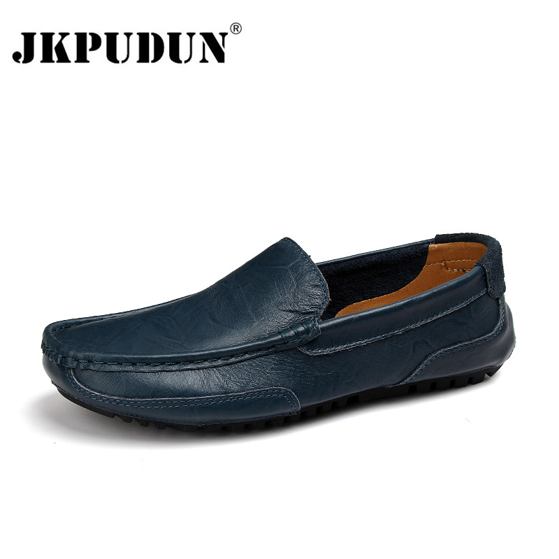 JKPUDUN Men Shoes Luxury Brand Genuine Leather Casual Driving Shoes Men Loafers Moccasins Slip On Italian Shoes For Men Big Size
