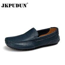 Jkbudun حذاء رجالي العلامة التجارية الفاخرة جلد طبيعي أحذية قيادة حذاء رجالي الأخفاف الانزلاق على الأحذية الإيطالية للرجال حجم كبير