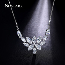 NEWBARK Flower Pendant Necklace Chunky Large Big Pendants Statement Necklaces Platinum Plated Marquise-cut Bridal Love Jewelry