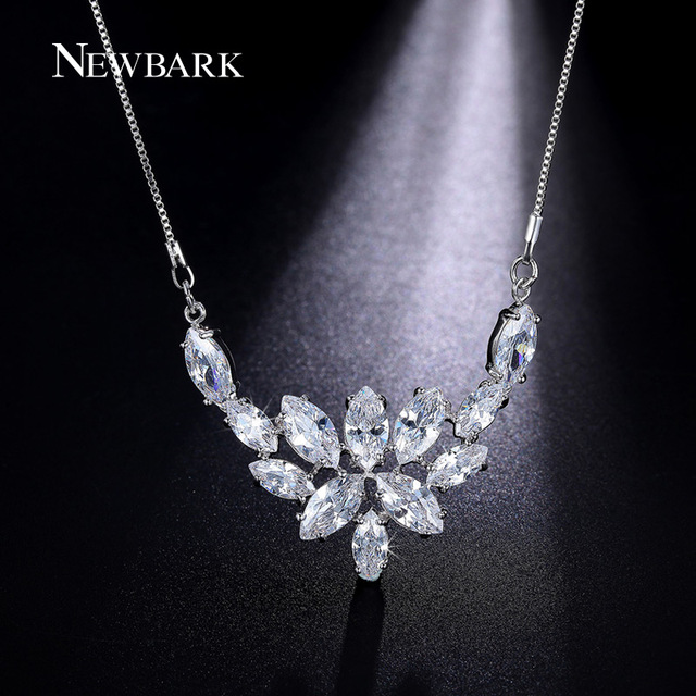 Newbark flower pendant necklace chunky large big pendants statement newbark flower pendant necklace chunky large big pendants statement necklaces silver color marquise cut bridal aloadofball Image collections