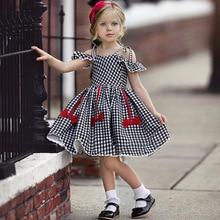 Baby Knee Dress Girls 2019 Summer Children's Black Plaid Sling Bow Cotton Flying Sleeve Cute Party Dress Girl Princess Dresses недорого
