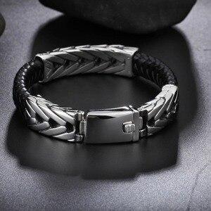 Image 3 - TrustyLan popularna marka męska bransoletki czarna skóra i stal nierdzewna Wrap biżuteria bransoletka męska prezenty dla niego Pulseras Hombre