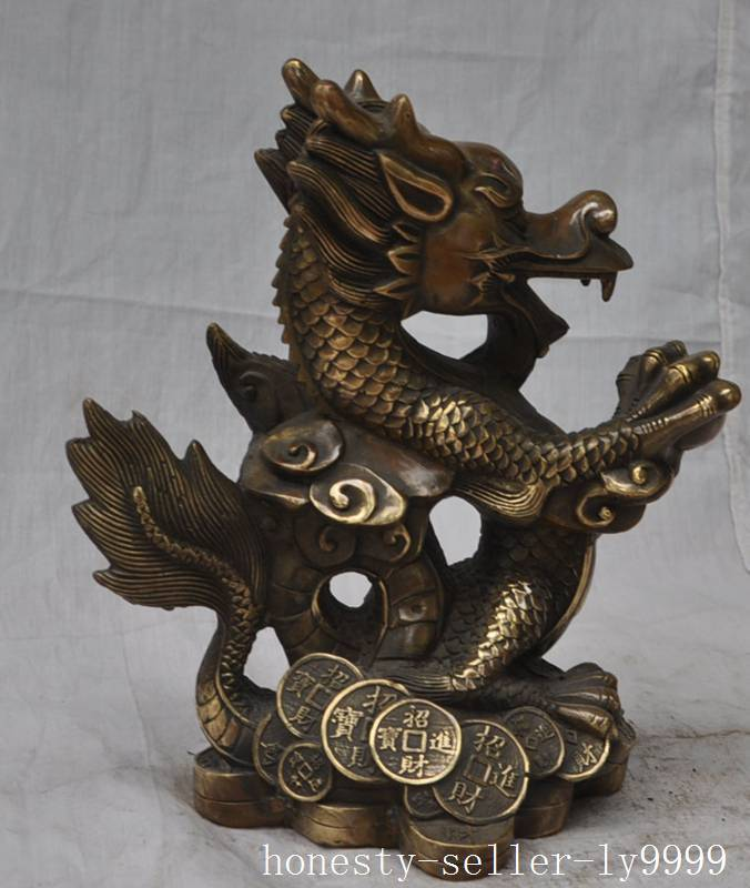 Crafts statue Marked Chinese fengshui bronze brass zodiac dragon beast wealth lucky statue halloweenCrafts statue Marked Chinese fengshui bronze brass zodiac dragon beast wealth lucky statue halloween