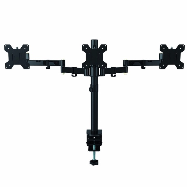 Full Adjustable Triple Arm Three LCD LED Monitor Desk Stand Mount Bracket 360 degree Rotation 180 degree Pull Out Swivel Arm