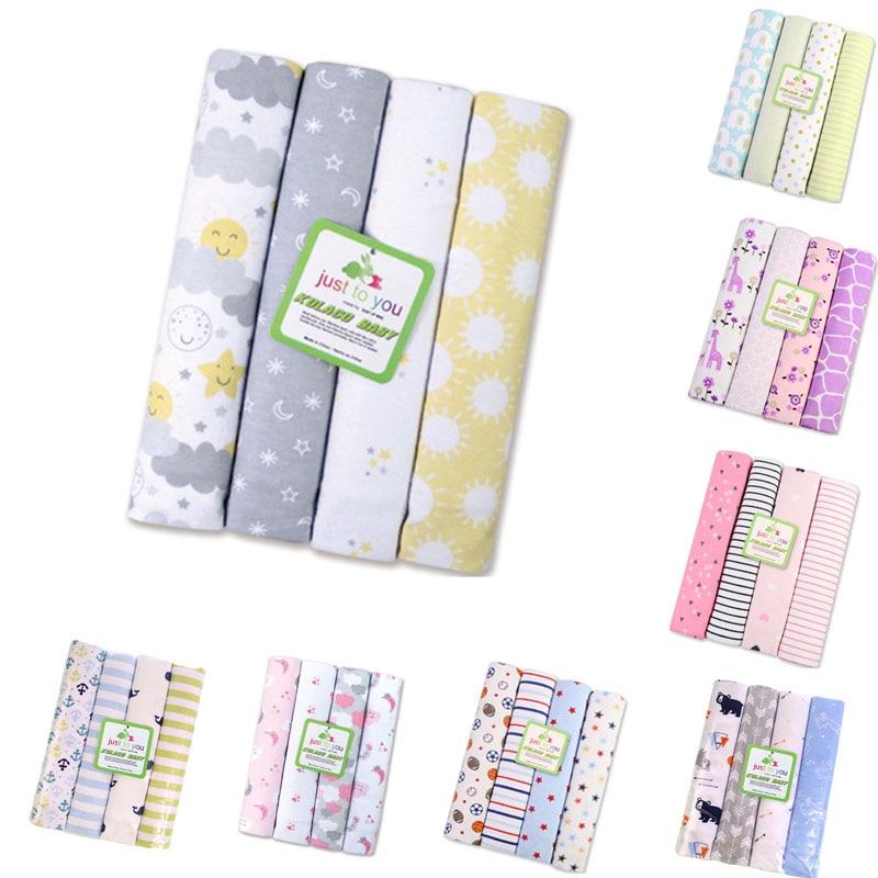 Summitkids nouveau 4 pcs/pack 100% coton flanelle couverture bébé Swaddle pour bébé couvertures nouveau-né enfants drap de lit supersoft couverture