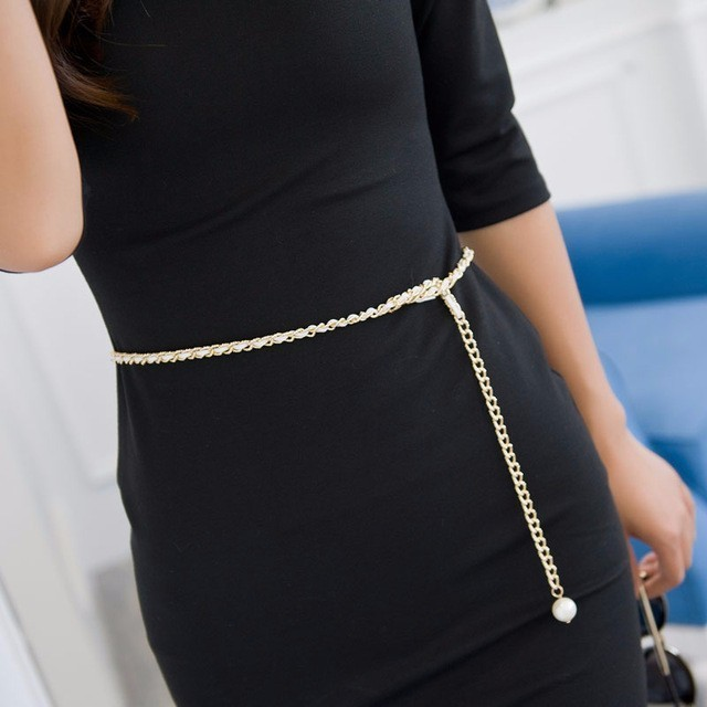 2018 Fashion Metal Waist Chain Cummerbunds For Women Girls String Waistband Woman   Belts   For Dress