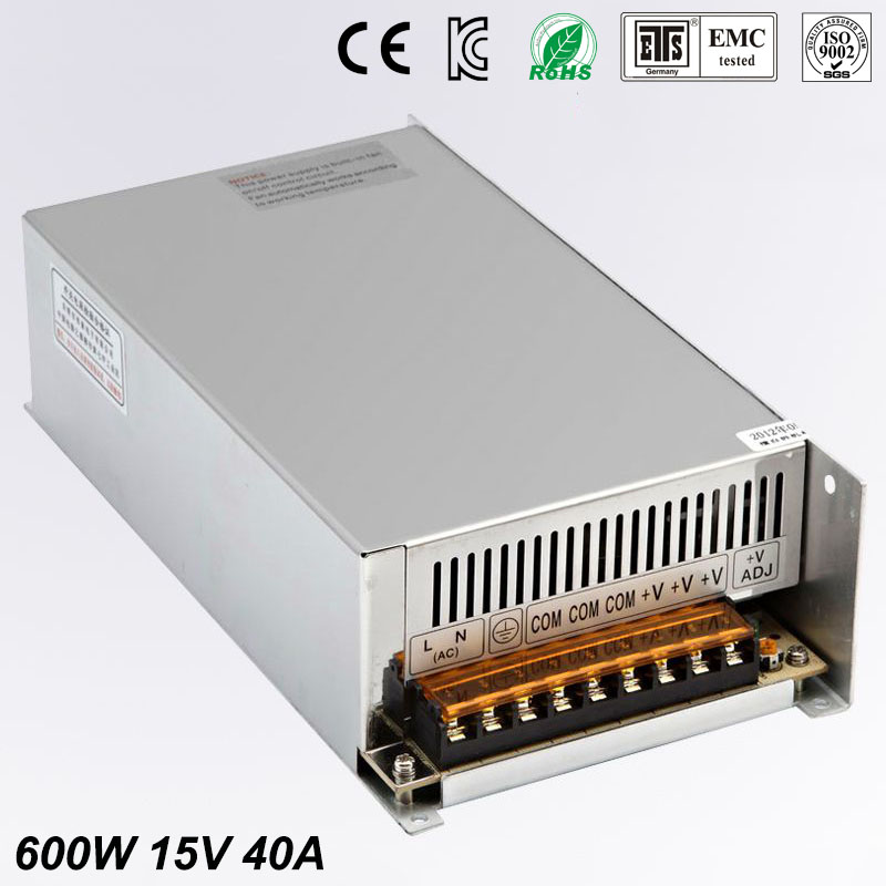 New arrival high quality 15V 40A 600W Switching Power Supply Driver for LED Strip AC 100-240V Input to DC 15V free shipping hot 12v 50a 600w 100 264v electronic transformer high quality safy led current driver for led strip 3528 5050 power supply