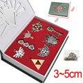 8pcs/set Anime Game The Legend of Zelda Weapons Pendants Heart Key The Triforce Vintage Keychain Charms Necklace Set Figure Toy