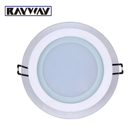 RAYWAY Super Bright 6W 12W 18W Round LED Recessed Ceiling Downlight Non Dimmable Glass Panel Light For Home Foyer Lamp AC85-265V