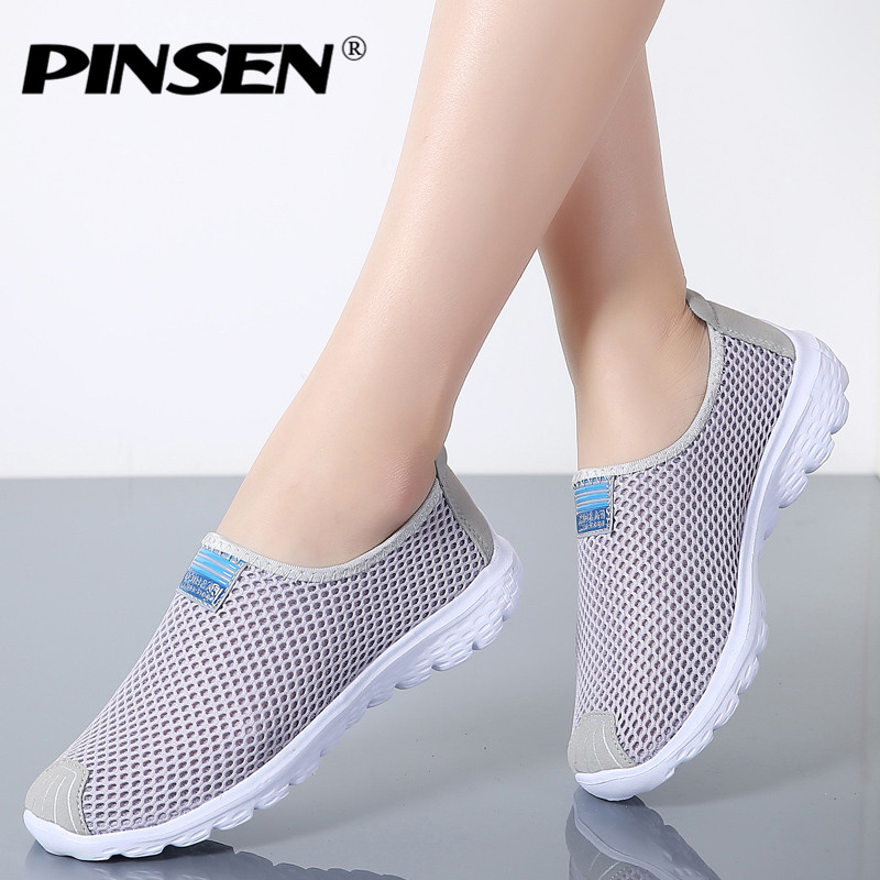 PINSEN 2018 Women Shoes Summer Breathable Mesh Sneakers Shoes Ballet Flats Ladies Slip On Flats Loafers Shoes Woman Moccasins forudesigns cartoon shark print women flats shoes sneakers casual women s summer mesh shoes beach girls loafers slip on zapatos