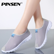 PINSEN 2018 Women Shoes Summer Breathable Mesh Sneakers Shoes Ballet Flats Ladies Slip On Flats Loafers Shoes Woman Moccasins