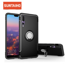 Suntaiho Shockproof Finger Ring Phone Case For Huawei P20 Pro Back Cover For Huawei Mate 10 lite 9 8 nova 3 Soft TPU Edge Case