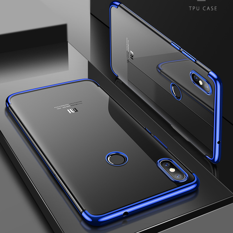 For Xiaomi Mi 8 Case Cover Transparent Plating TPU Soft Silicone Clear Back Cover For Xiaomi Mi8 8 SE 8Lite Case Phone Coque in Fitted Cases from Cellphones Telecommunications