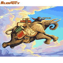RUOPOTY Frame Elephants Animals DIY Painting By Numbers Acrylic Paint By Numbers Modern Wall Art Picture For Home Decors 40x50cm(China)
