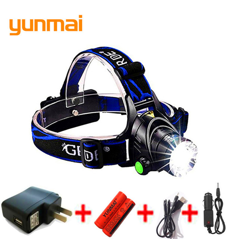 yunmai USB LED Headlamp 3800lm XML T6 Rechargeable 18650 Battery Zoom Headlight Head Torch Waterproof Lamp Fishing Hunting M07 30w led cob usb rechargeable 18650 cob led headlamp headlight fishing torch flashlight