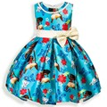 Moana Meninas Floral Vestido de Festa Traje de Casamento Com Pérola Vestido Tutu Vestido Azul Sem Mangas Dos Desenhos Animados Do Bebê Dos Miúdos Meninas Vestido de Princesa