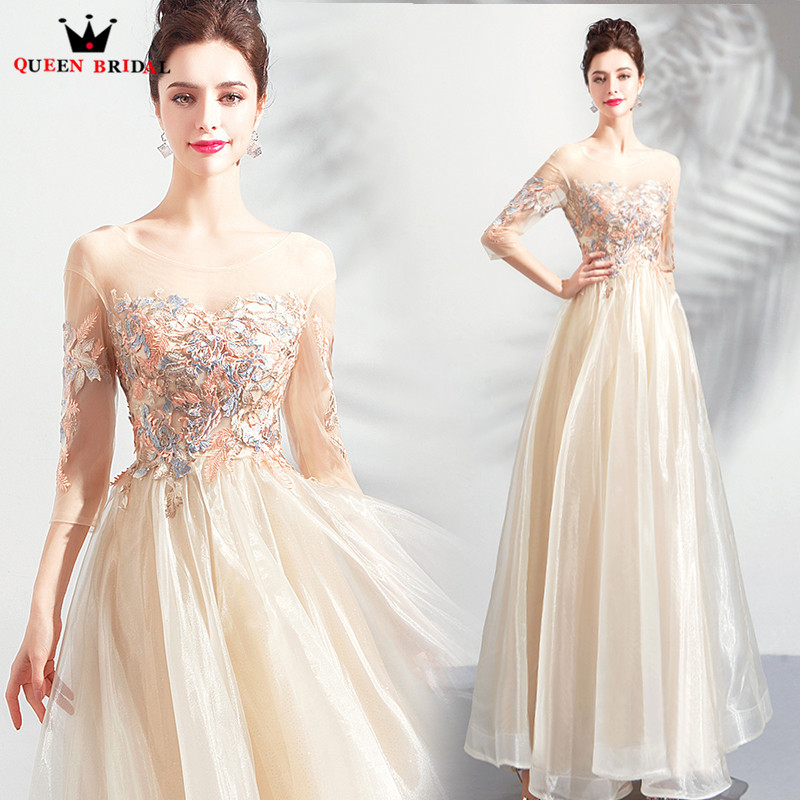 A-line 3 4 Sleeve Tulle Lace Beaded Pearls Appliques   Evening     Dresses   Party Prom   Dress     Evening   Gowns 2019 New Fashion JW79N