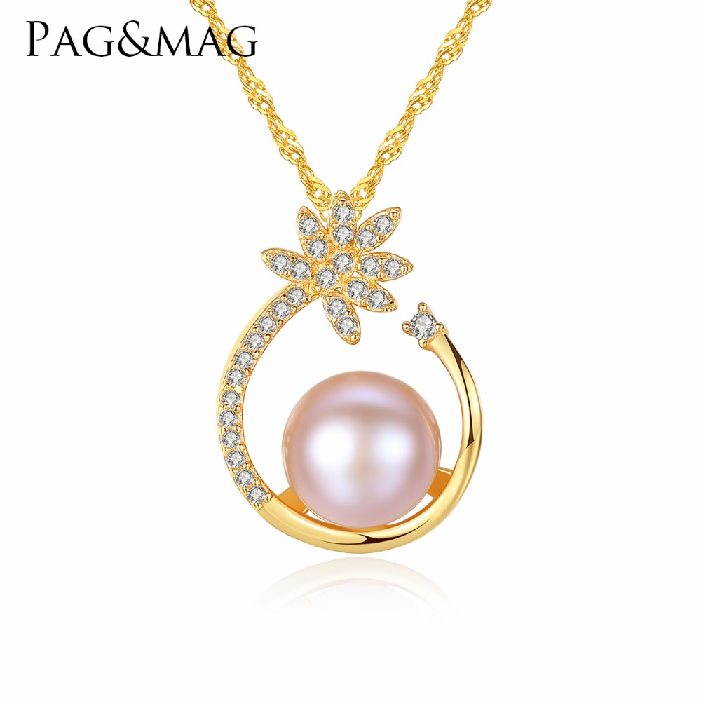 PAG&MAG 925 Sterling Silver CZ Flower Necklace,Fine Pearl Pendant Jewelry Women Bohemia 18K Gold Color Chain For Love, Girl GiftPAG&MAG 925 Sterling Silver CZ Flower Necklace,Fine Pearl Pendant Jewelry Women Bohemia 18K Gold Color Chain For Love, Girl Gift