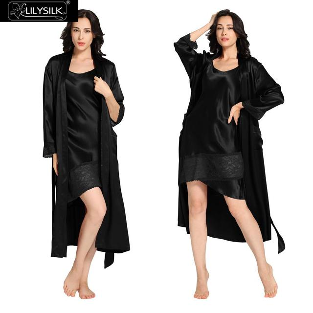 Lilysilk Long Silk Robe Sexy Nightgown Robes Set Sleepwear Black 22 momme Womens Pajamas Winter Nightwear Full Lingerie Lace