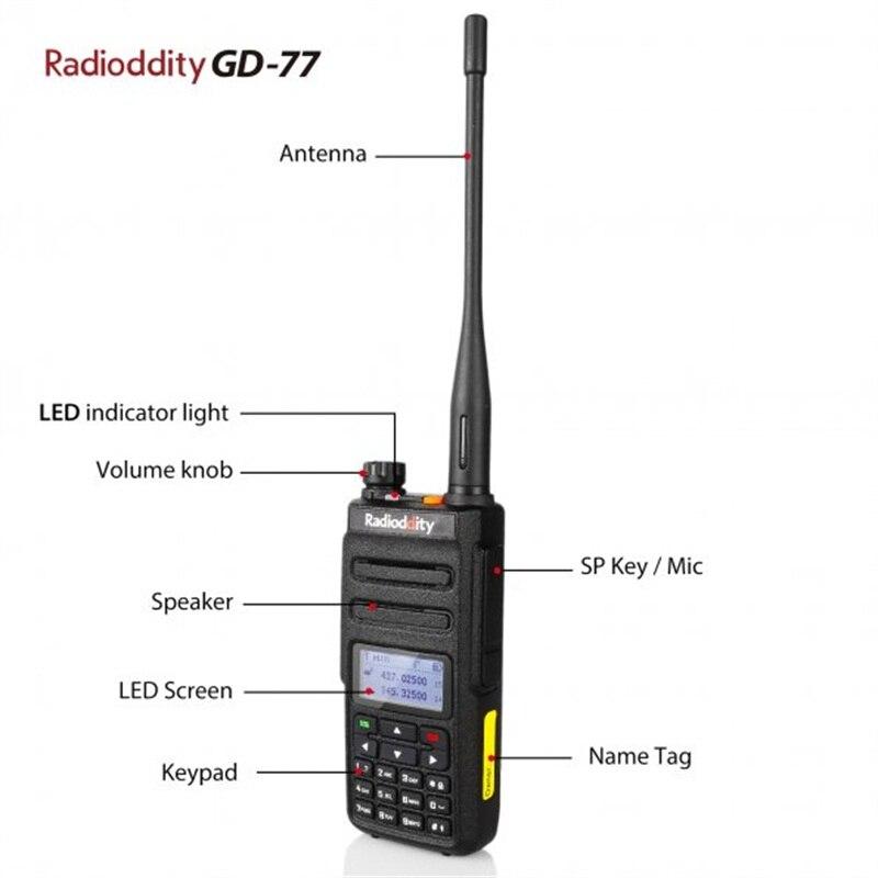 band digital 2pcs Radioddity GD-77 Dual Band Dual Time Slot Digital Two Way Radio Walkie Talkie Transceiver DMR Motrobo Tier 1 Tier 2 Cable (2)
