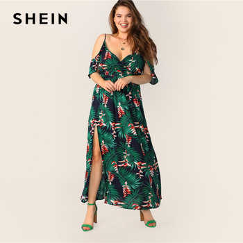 SHEIN Plus Size Multicolor Cold Shoulder Tropical Print Belted Split Maxi Dress 2019 Women Summer Boho Spaghetti A Line Dresses - DISCOUNT ITEM  45% OFF All Category