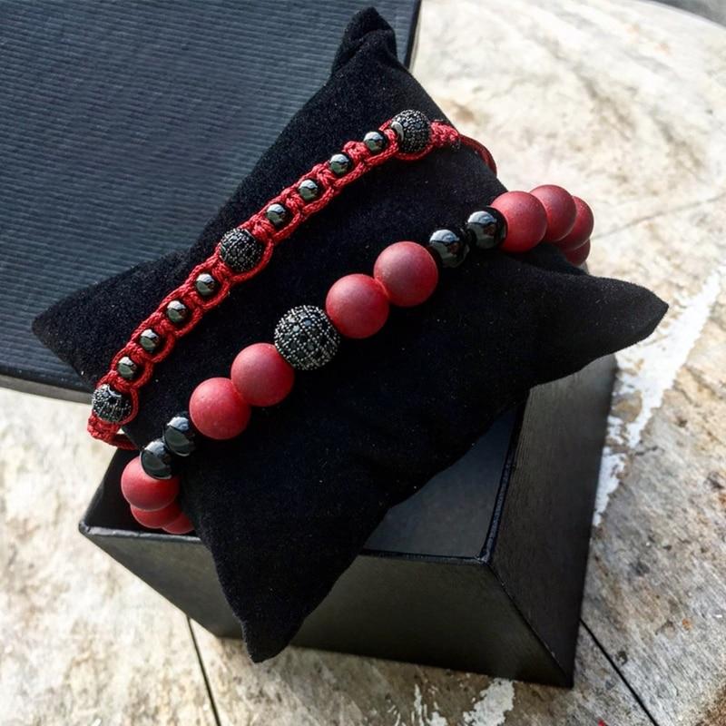 ATTYIRENA 2 unids/set rojo Natural cuentas de piedra hombre pulsera Micro CZ grano tejida pulsera femenina pulsera trenzado Cable de Macrame pulsera de los hombres